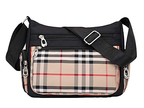 (VVVSO Women Durable Oxford Plaid Crossbody Bag Casual Shoulder Bag Daypack (Beige))