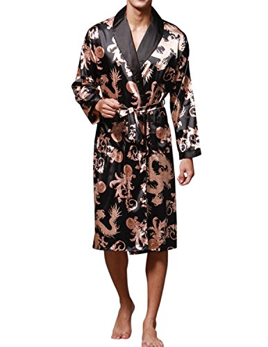 Haseil Men's Satin Robe Dragon Chinese Silk Spa Long Sleeve House Kimono Bathrobe, Black, (Male Robes)