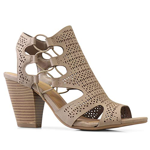 City Classified Open Toe Perforated Lace up Elastic Side Stacked Chunky Heel Sandal, Lt. Taupe, ()