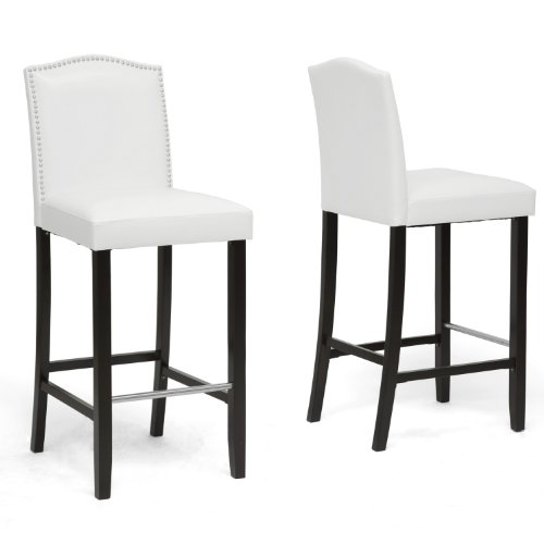 - Baxton Studio Set of 2 BBT5111 Bar Stool-White Bar Stool 2-Piece Set, White