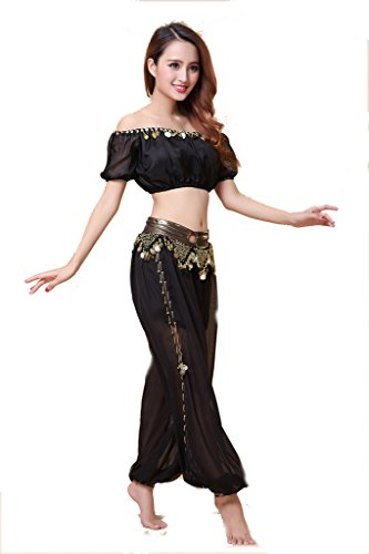 ZLTdream Lady's Belly Dance Chiffon Bra Top and Lantern Coins Pants Black, One Size -