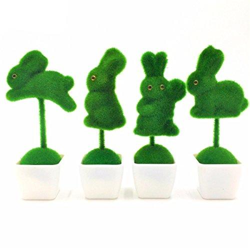 4Pc/pack Rabbits Shaped Fake Flower Plant Trees Bonsai Green Pot Plants Ornaments Creative Home Decor