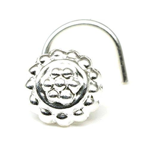 Karizma Jewels Silver Nose Stud, corkscrew piercing nose ring L Bend 22g by Karizma Jewels