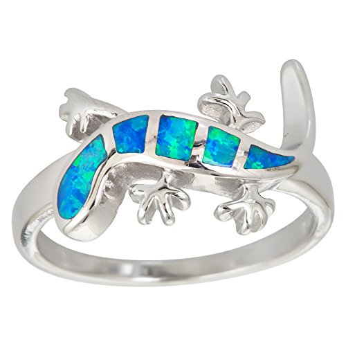 Decadence Sterling Silver Created Opal Lizard Ring