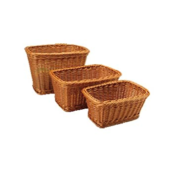 Rectangular Plastic Woven Baskets  Mixed Sizes Set Of 3