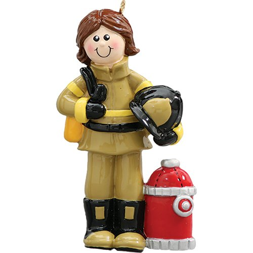 Personalized Christmas Ornaments 2017 Fireman Woman Engine Truck Department Occupation Firefighters Emergency Holiday Tree Ornament Jobs Profession Coworker Workers Gift