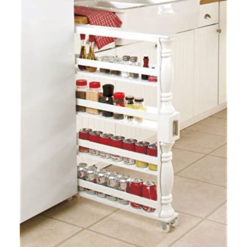 Charming Slim Can And Spice Racks (White)