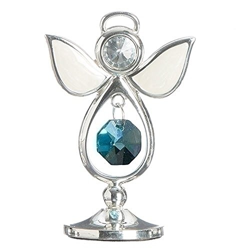 March Bright Sea Blue Colored Jewel Bead 3 Inch Birthstone Angel Figurine