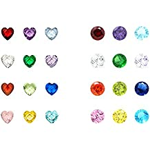 Birthstone Charms - 96Pcs 5mm Birthday Crystal Charms for Glass Living Floating Memory Locket Bracelet Pendant Necklace