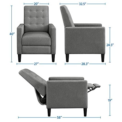 Living Room Topeakmart Mid-Century Modern Fabric Recliner Modern Tufted Reclining Single Sofa for Living Room Padded Cushion Home… modern accent chairs