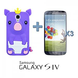 OnlineBestDigital - Piggy Style Silicone Case for Samsung Galaxy S4 IV I9500 / I9505 - Purple with 3 Screen Protectors