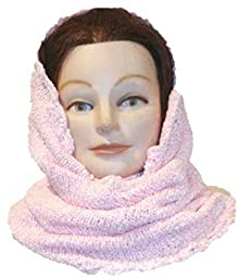 Knitted Crochet Finished Pink Chenille Winter Balaclava Neck Warmer Hood Scarf