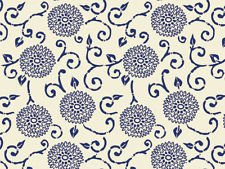 - Blue Indigo Rhapsody Floral on Cream Tissue Paper Gift Wrapping 20