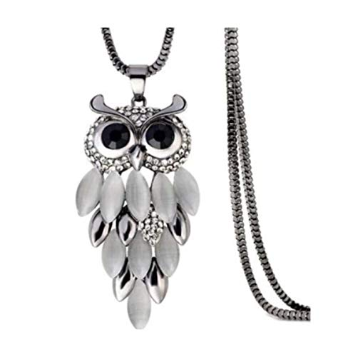 (Nataliya Long Pendant Necklace (Silver owl))