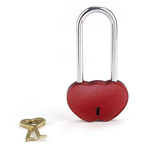 Baonoopy Doppel-Herz aus massivem Messing Liebes-Verschluss-Everlasting Love Für Liebhaber (Rot)