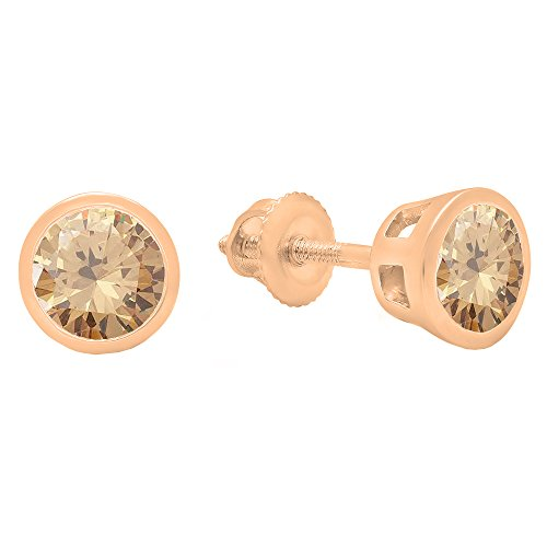 Dazzlingrock Collection 1.00 Carat (ctw) 14K Round Cut Champagne Diamond Ladies Solitaire Stud Earrings, Rose Gold