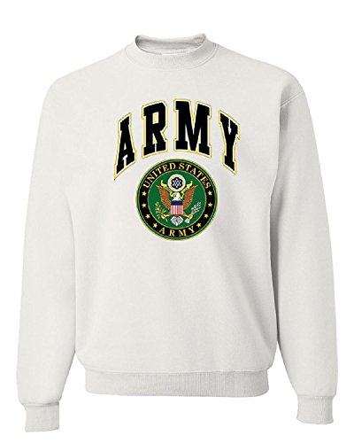US ARMY CREW NECK SWEATSHIRT ARMY LOGO CREST PATRIOTIC, White, L, White, L