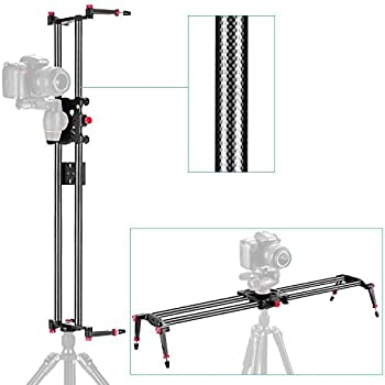 """Neewer 39""""/1m Carbon Fiber Camera Track Dolly Slider Rail System with 17.5lbs/8kg Load Capacity for Stabilizing Photograph Movie Film Video Making DSLR Camera Nikon Canon Pentax Sony"""