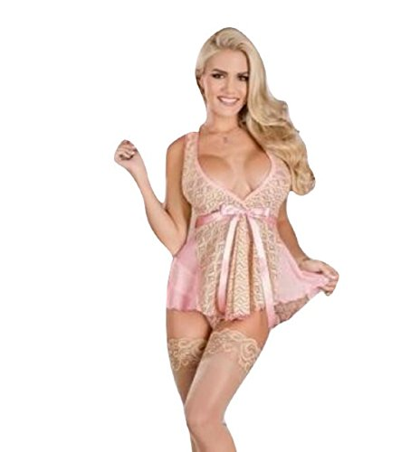 Doll Silk Baby Womens Magic - Magic Silk Lingerie Belted Baby Doll Set Pink (Large)