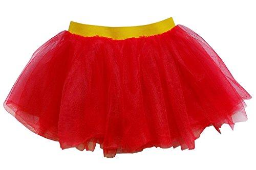 So Sydney Adult, Plus, Kids Size SUPERHERO TUTU SKIRT Halloween Costume Dress Up (M (Kid Size), Red & Yellow (Superman)) (Teen Superman Costume)