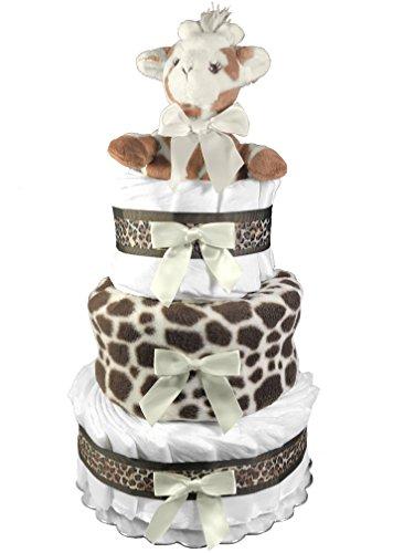 Diaper Cake for a Boy Baby Shower Gift - Giraffe Safari Centerpiece by Sunshine Gift Baskets