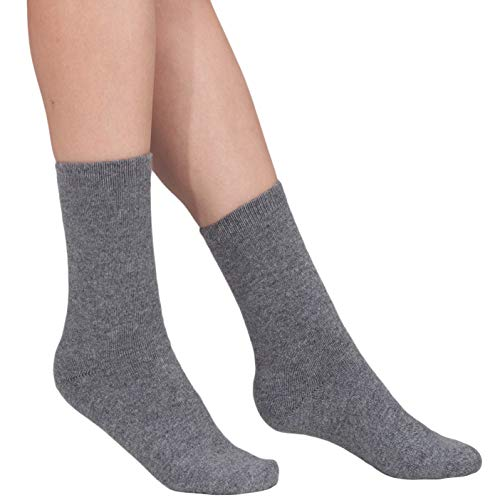 100% Cashmere Socks - Pure Cashmere Socks for Women (Dark Grey, L)