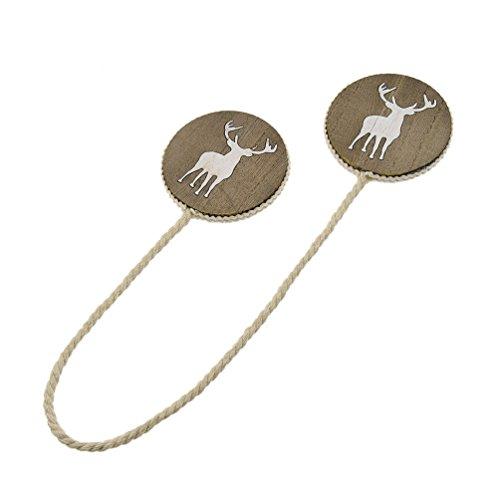 Lychee Carved Deer Elk Wood Curtain Buckle Holder Tieback Magnetic Home Decor 1 (Elk Tie Backs)