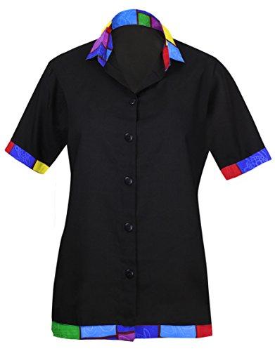 LA LEELA Women's Swim Hawaiian Shirt for Girls Button Down Up Shirt L Black_AA46