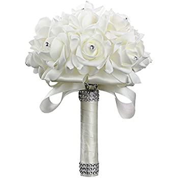 Amazon.com: StillCool Wedding Bouquets Crystal Pearl Silk Roses ...