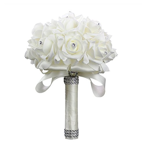 StillCool Still Creamy-white Crystal Pearl Silk Roses Bridal Bridesmaid Wedding Bouquet (18cm24cm, Creamy-white)