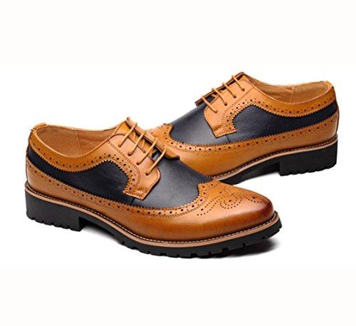 WZG Zapatos elegantes del vestido elegante formal del cordón de Derby que casan los zapatos del trabajo del negocio zapatos planos del cordón Yellow