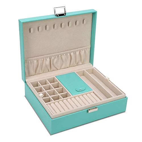 - AIMEI Jewelry Storage Box Wooden Case Organizer Leather Jewelry Holder Case Display Tray Storage Case(Green)
