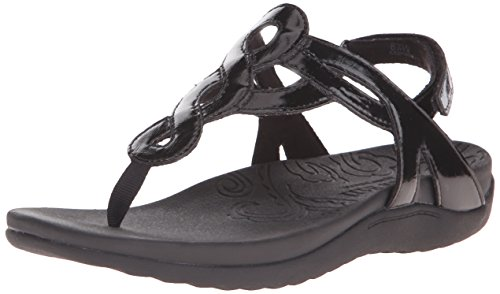 Rockport Cobb Hill  Women's Ramona-CH Flat Sandal,  Black Patent, 9.5 M US