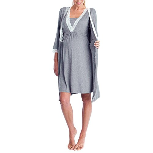 LLguz Summer Casual Womens Mother Lace Pregnant Casual Nursing Baby For Maternity Pajamas Short Sleeve/Long Sleeve Dress (Dark Gray 2, XL) by LLguz