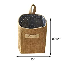 ICEBLUE Jute Wall Door hanging Storage Bag Case Basket Home Organizer Bin Decor (blue dots)
