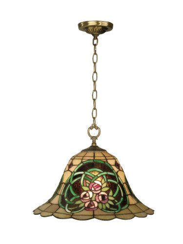 Dale Tiffany TH10506 Tiffany Hanging Pendant Light , Antique Brass and Art Glass Shade - Gold Foil Bronze Spotlight