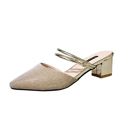Donyyyy Sandalen Baotou Hauml;lfte Hausschuhe  Golden|Thirty-five