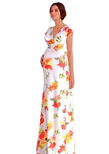 [JET-BOND Maternity Flower Printed Front Wrap Long Jersey Dress FS58 Deep V-Neck Floor Length Dress (XL, White)] (Maternity Jersey Dress)