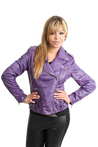 Mesdames cycliste moto Femmes en cuir de veste cintrée Veste en cuir 7113 pourpre