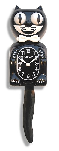 Kit-Cat BC01 Classic Black Clock, - Cat Vintage