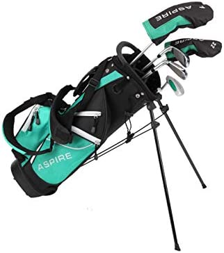 Aspire Junior Plus Complete Golf Club Set for Children, Kids – 5 Age Groups Boys and Girls – Right Hand, Real Girls Junior Golf Bag, Kids Golf Clubs Set