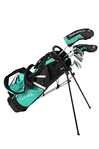 Aspire Golf Junior Plus Complete Golf Club Set for Children Kids – 5 Age Groups Boys & Girls – Right Hand (Green Ages 7…