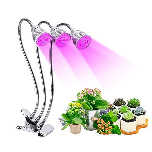 LED Grow Lights for Indoor Plants Seedlings, 15W Full Spectrum Plant Grow Lamps, Adjustable 360 Degree Gooseneck Hydroponics System Greenhouse Gardening Plant (Easy Plants To Grow In A Classroom)