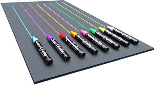 SuperChalks Color Liquid Chalk Marker Pens 8-Pack - 4mm Reversible Tip - ONLY Suitable for Non Porous Surfaces