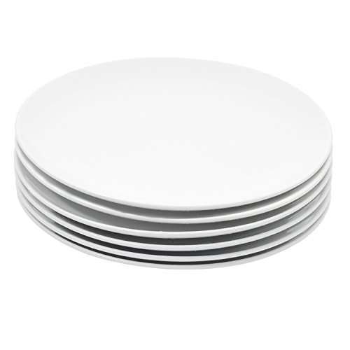 Durable Porcelain 6-Piece Salad Plate Set, Elegant White Serving Plates (8-inch lunch plates) -