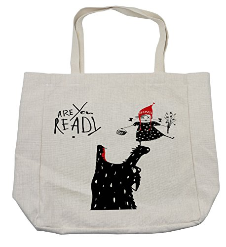 Lunarable Modern Shopping Bag, Cartoon Design Print with a Little Red Riding Hood Girl and Wolf Theme, Eco-Friendly Reusable Bag for Groceries Beach Travel School & More, -