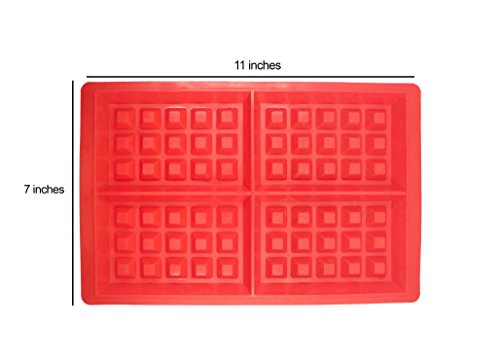 Eligite Silicone Waffle Maker Mold (Red) 4-Pieces Non-Stick Baking Tool - Oven/Microwave/Dishwasher/Freezer Safe - Comes with FREE ebook