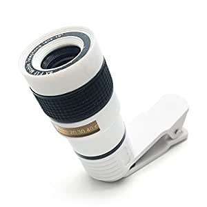 FlatLED 8X Camera Lens Kit, Telescope Camera Lens HD 8X Optical Zoom Telescope Lens, Universal for most iOS and Android smartphones White