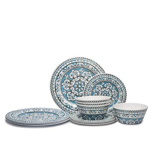 12pcs Melamine Dinnerware Set – Dinner Dishes Set for 4, Lightweight for Daily Use