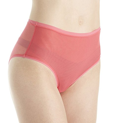 - OnGossamer Women's Modern Mesh Medium-Rise Brief Panty, Vermillion, L